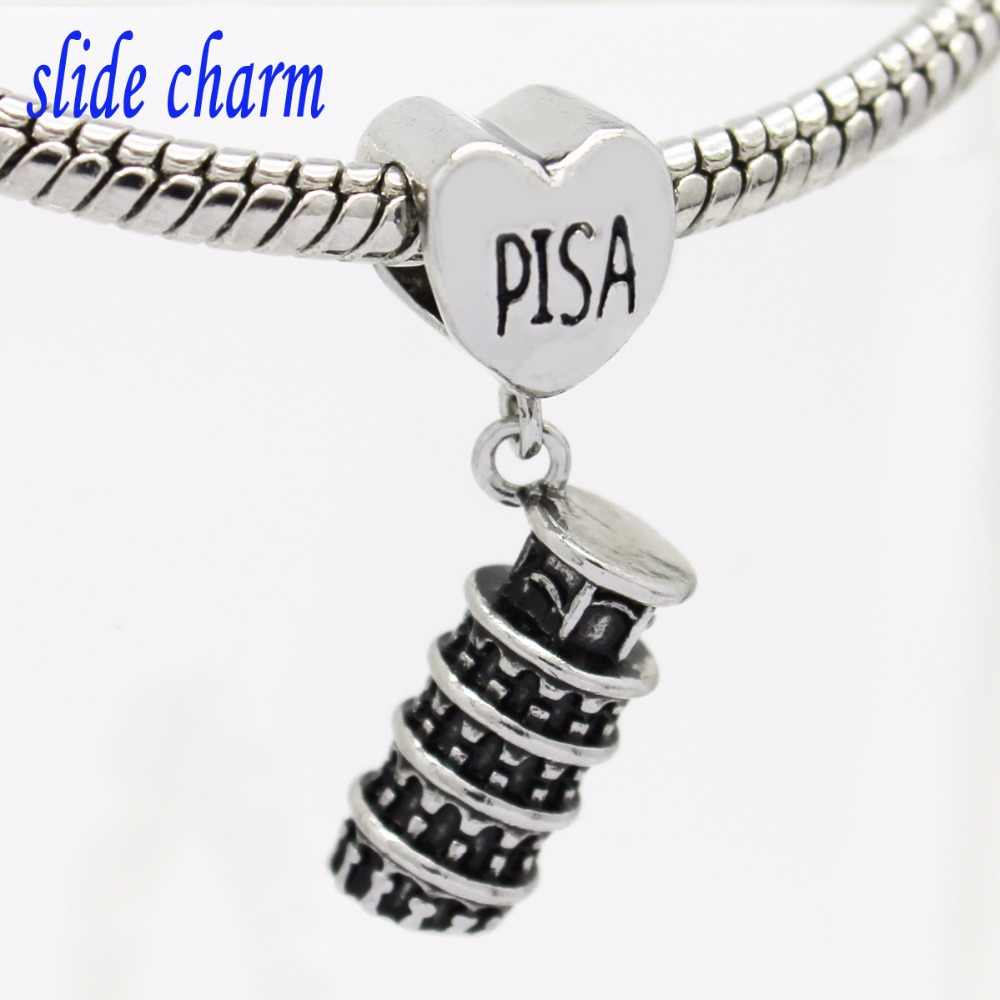 slide charm New Fashion Jewelry Leaning Tower of Pisa, Italy talisman pendant charm beads fit Pandora bracelet Free shippin  A-1