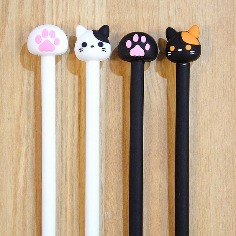 2PCs/Lot Novelty Hot Fashion Cartoon Cute Meow Paw Cat Black And White Gel Pen Ink Marker Pen School Office Supply Gift E0660
