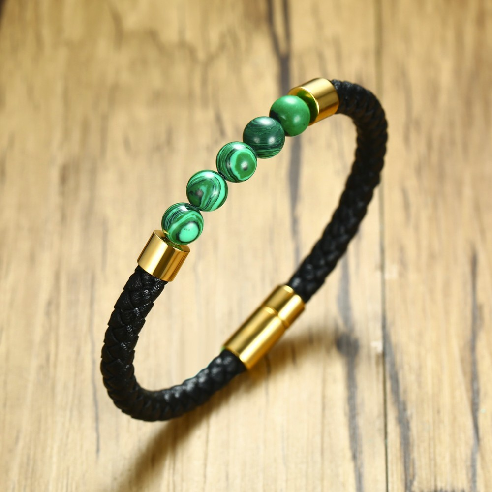 Mens Classic Woven Leather Braslet with Malachite Bead Bracelet with Magnetic Buckle Cuff Bangle for Male Bracciale Jewelry