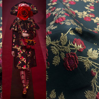 SASKIA 1Meter Brocade Jacquard Fabric 61 Gold Flower Polyester Material Sewing Dress Clothes Coats Patchwork Diy Black 353g/m