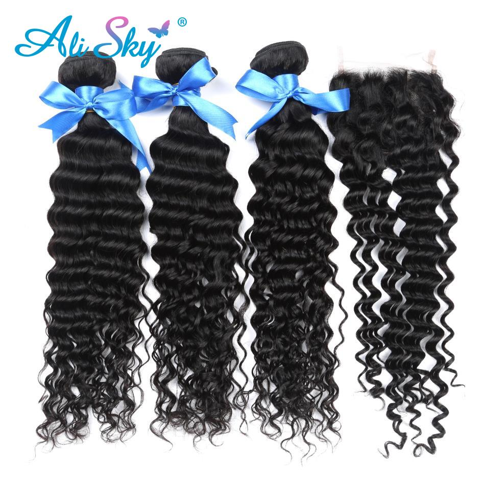 Malaysian Deep Curly 3 bundles with Lace Closure Free Middle Three Part 100 Human Hair Non