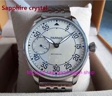 Sapphire crystal 44mm PARNIS Asian 17 jewels ST3600/6497 Mechanical Hand Wind movement Milk white dial men's watches sdgd45A