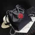 Luxury Handbags Women Bags Designer Brand Famous Bucket Bag Shoulder Bag Female Vintage Black PU Leather Crossbody Bags 8815