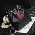 Mujeres de Los Bolsos Diseñador de la Marca de lujo Famoso Cubo Bolsa de Hombro Bolso Femenino Negro de La Vendimia de LA PU de Cuero Bolsos Crossbody 8815
