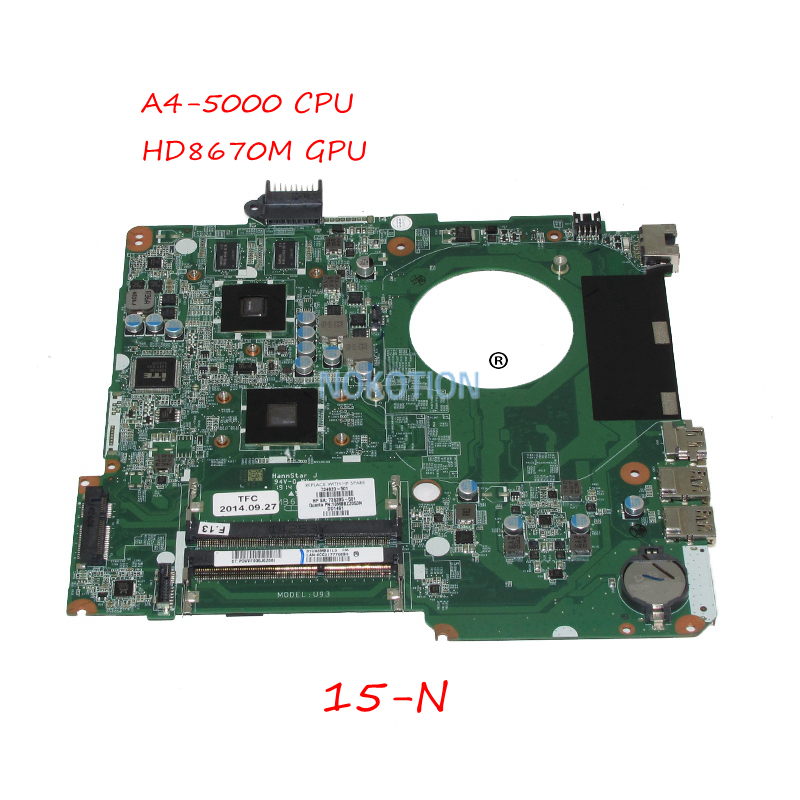 NOKOTION DA0U93MB6D2 734820-501 734820-001 735285-501 For HP Pavilion 15-N Laptop motherboard A4-5000 CPU HD8670M GPU 734820 501 734820 001 free shipping for hp pavolion 15 n 15z n laptop motherboard da0u93mb6d0 8670m 1g a4 5000 cpu