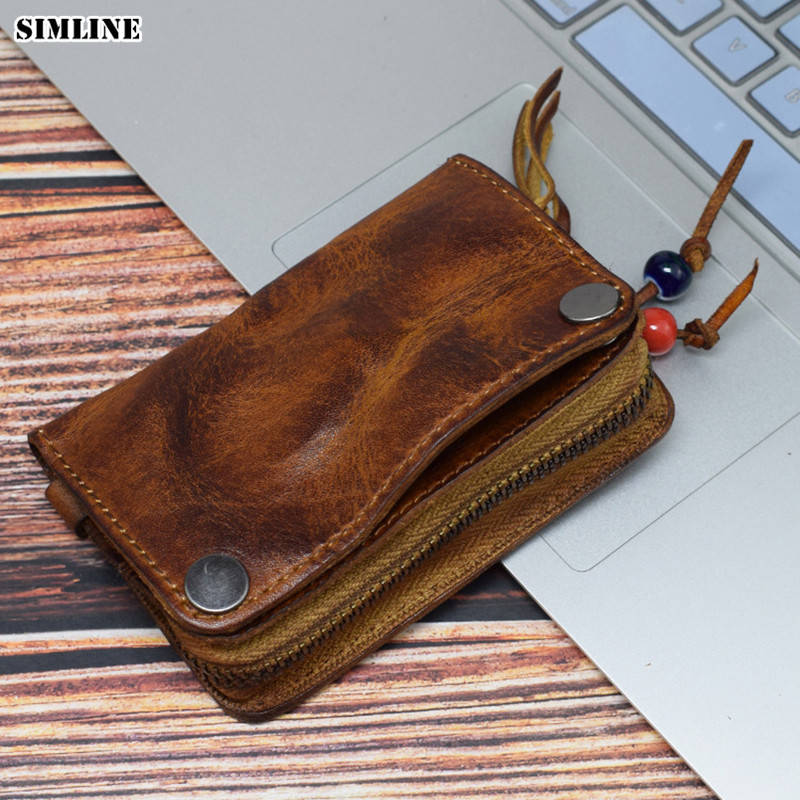 Vintage Genuine Cow Leather Key Wallet Holder Men Cowhide Zipper Car Key Bag Case Card Holders Coin Purse Organizer Housekeeper