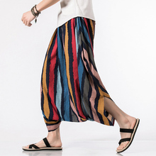 Men's Striped Big Crotch Casual Cross-pants Elastic Waist Wide Leg Skirt Trousers Male Fashion Harem Pants Plus Size 5XL цена 2017