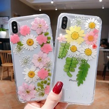 Tfshining Luxury Handmade Dried Real Flowers Pressed Phone Case For iPhone X XR XS Max 6 6S 7 8 Plus Cases TPU Back Cover Fundas