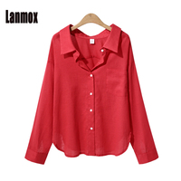 Lanmox 2018 Newest Woman Blouse Spring Summer Women Casual Tops Fashion Long Sleeve Women Solid Color