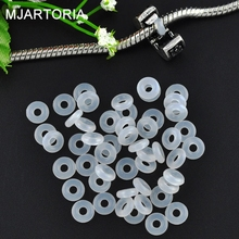 MJARTORIA 500PCs Rubber Stopper Rings Silicone Beads Fit European Charm Bracelet Beads For Jewelry Making Needlework 6×1.9mm