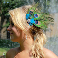 Peacock Feather Rhinestone Hairpin Hair Clip Dance Party Wedding Hair Wear