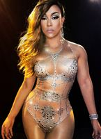 Nude Crystals Bodysuit Summer Sexy Bling Costume Rhinestones One Piece Outfit Performance Nightclub Show Party Dance