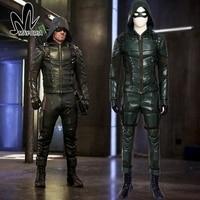 Green Arrow Cosplay Costume Oliver Queen Green Arrow Season 5 Cosplay Leather Battle Suit Carnival Halloween