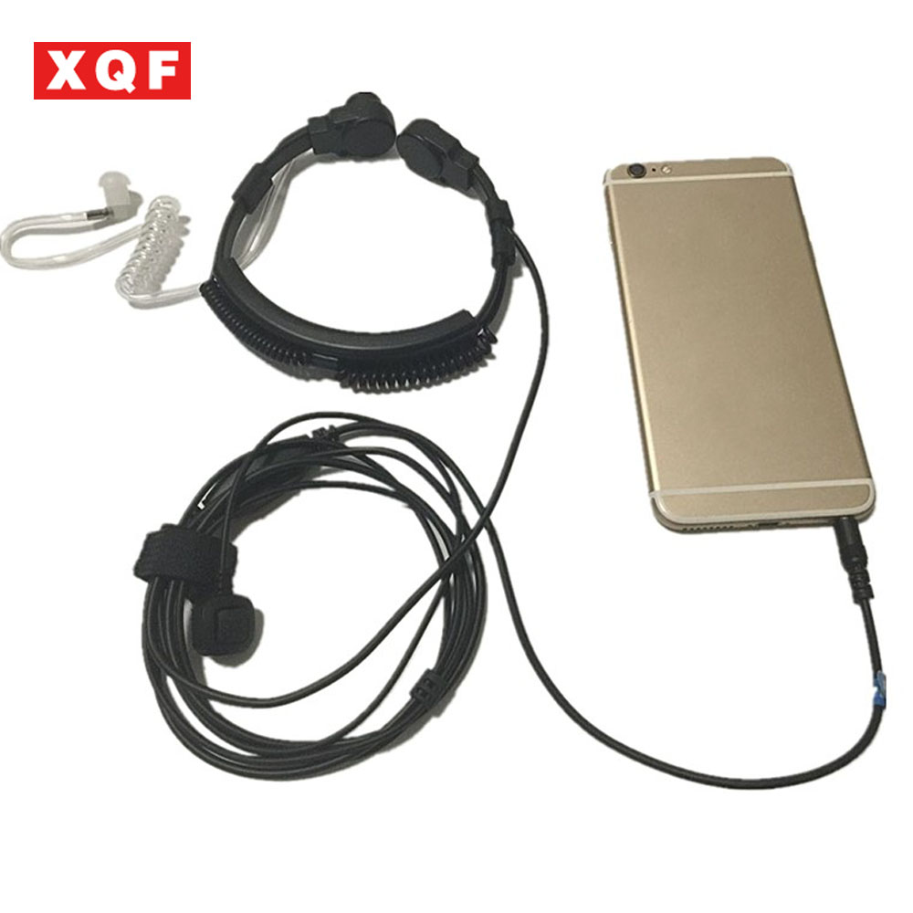 XQF Flexible Throat Mic jack 3.5mm Microphone Covert Acoustic Tube Earpiece Headset for Iphone android moblie phone