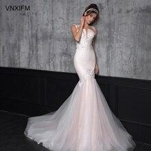 VNXIFM 2019 Lace Appliques Deep V Neck Mermaid Wedding Dress Long Cap Sleeves Luxurious Court Train Bridal Gowns Plus Size