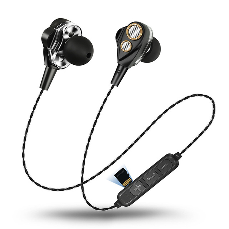 30PCS In-Ear Double Dynamic SMN15 Wireless Earphone Stereo Bass Sound Sports With Mic For Bluetooth Smartphone With Retail Box