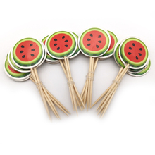Kids Girls Boys Favors Happy Baby Shower Decoration Birthday Party Watermelon Design Cupcake Cake Toppers With Sticks 24pcs/pack
