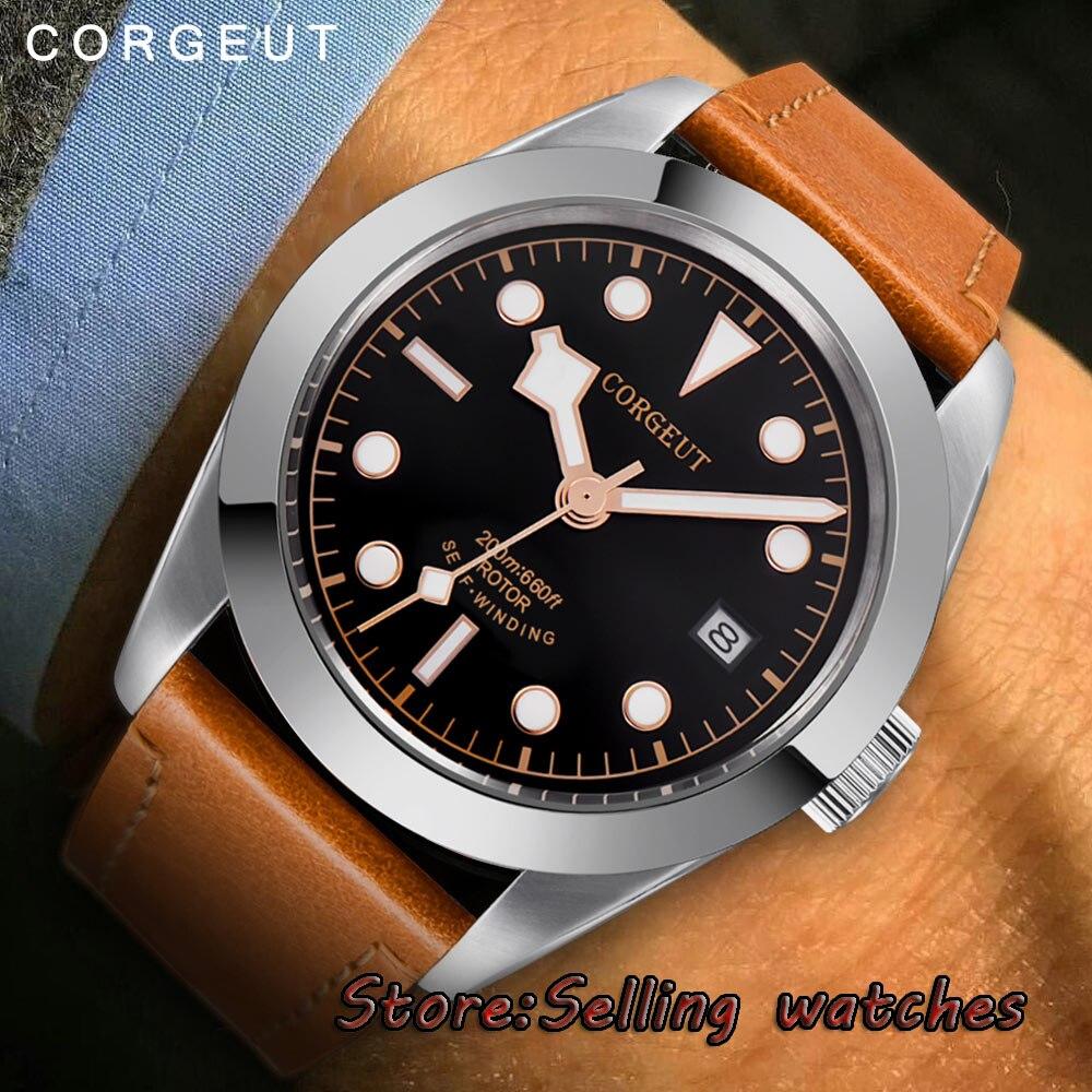 Polisehd 41mm corgeut schwarz zifferblatt sterile zifferblatt Saphirglas Automatische herren Uhr-in Mechanische Uhren aus Uhren bei  Gruppe 1