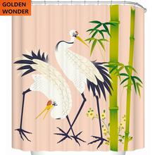 New Arrival Chinese Style Bamboo Crane Bathroom Curtain Duschvorhang Cortina Ducha Thickening Waterproof Shower