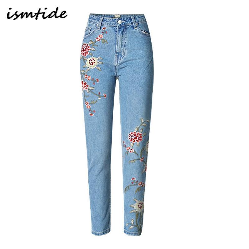 American Apparel BF Women Jeans High Waist Floral 3D Embroidery High Waist Ladies Straight Denim Pants Jeans Bottoms Plus Size american apparel women high waist jeans