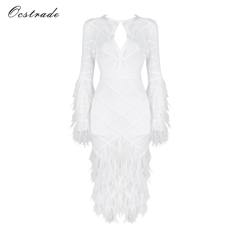 Ocstrade Cocktail Party Bandage Dress Celebrity Dresses 2017 White New Sexy Feather Mesh Bandage Dress for Black Friday ruby rox new black lace bandage dress l $59 dbfl