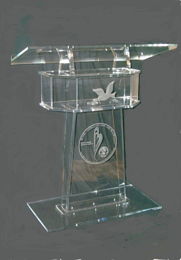 Free Shipping Hot Sell C Shape Acrylic Plexiglas Acrylic Podium Pulpit Lectern With Shelf
