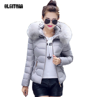 2019 Winter Jacket Women New Solid Bread Padded Coat Slim Light Warm Hair Collar Thickening Jacket Down Cotton Overcoat CC098