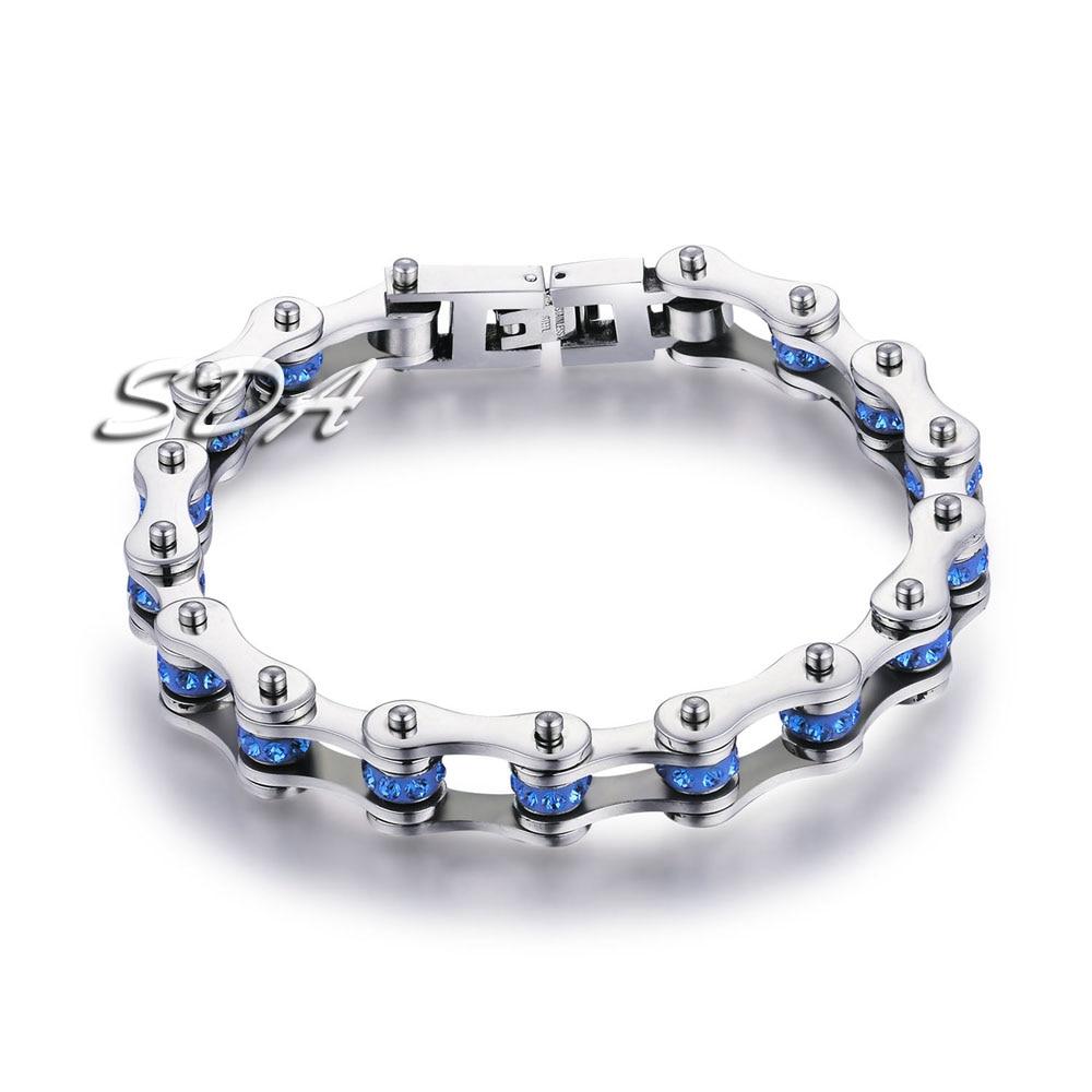 SDA Frauen 316L Titan Stahl Armbänder Blue & Lila Kristall Motorrad Kette Armbänder 10mm breite 17 cm ~ 22 cm Länge YM001CBU