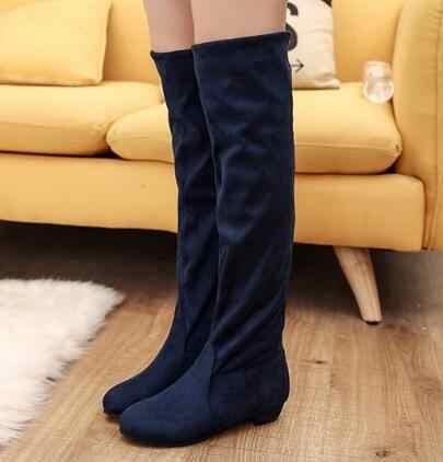 Moda yeni Sıcak Kadın Botları Sonbahar Kış Bayanlar Moda Düz Taban Botları Ayakkabı Diz Üzerinde Uyluk Yüksek Süet Uzun çizmeler