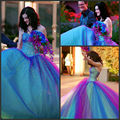 2016 Vestido De Noiva Romantic Rainbow Purple Wedding Dresses Sweetheart Sexy Bridal Gown Rhinestone Crystal Married Dress
