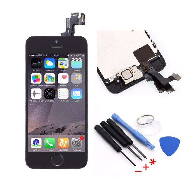 Black lcd montagem completa para iphone 5s display lcd de toque digitador da tela + quadro + botão home flex cable + frente câmera + ferramentas