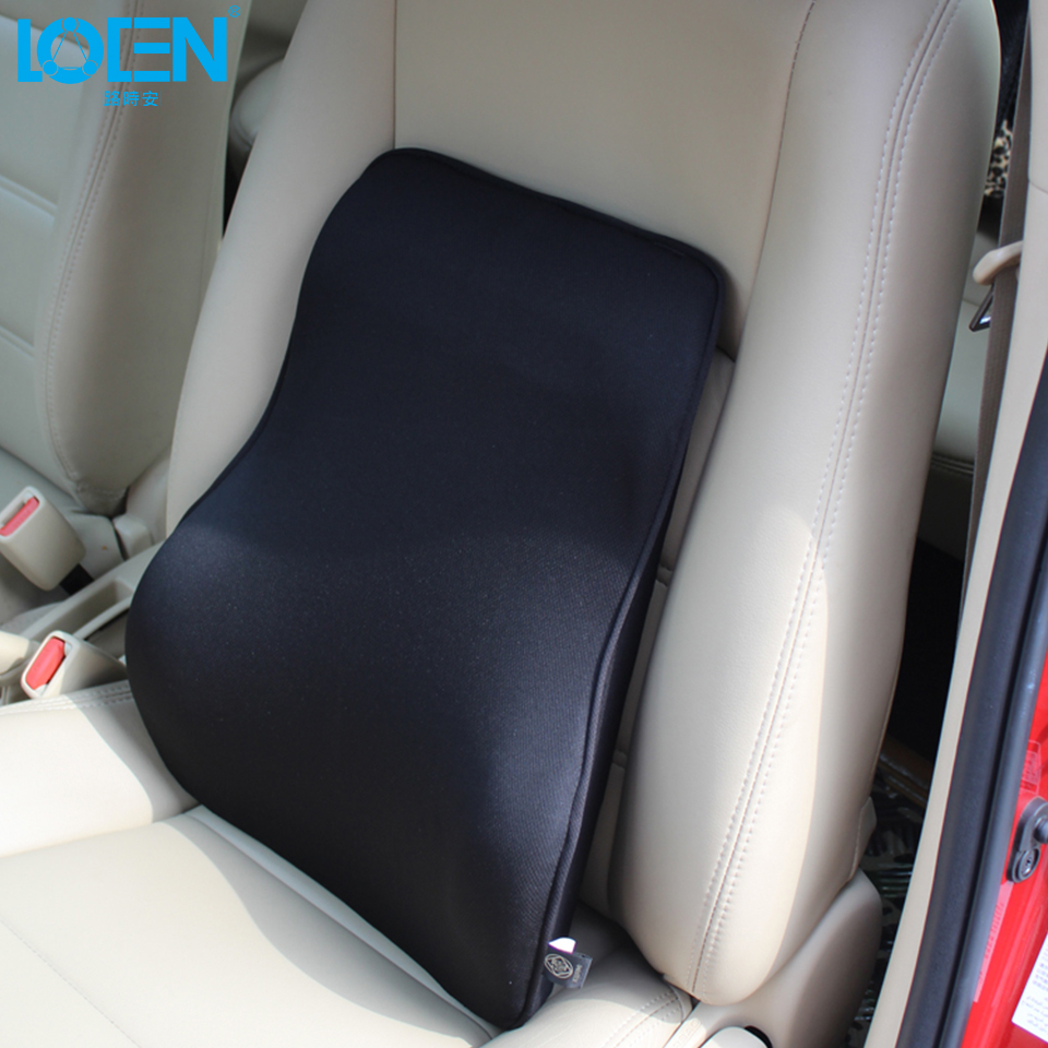 Loen super soft breathable car seat back cushion bamboo charcoal space memory foam lumbar support for car seat and office chair
