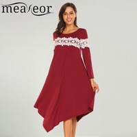 Meaneor Women Casual Dress Spring Long Sleeve Lace Patchwork Irregular Hem Vestidos Loose Fit Tunic Female