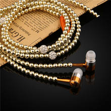 Luxury Pearl Necklace Chain Earphone with Mic handfree Wired earphones 3.5mm earbuds For Girls iPhone Samsung Xiaomi(China)