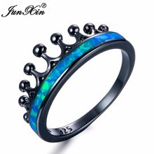 JUNXIN 90 OFF!Blue White Fire Opal Ring Female Black Gold Filled Queen Crown Rings For Women Rainbow Birthstone Wedding Ring(China)