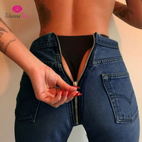 WannaThis Long Jeans Women Basic Classic High Waist Skinny Pencil Blue Denim Pants 2017 Autumn Back