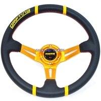 340 мм МОМО Руль Deep Dish Авто ПВХ рулевое колесо Золотая рамка красной строчкой Момо колеса для автомобиля