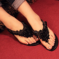 2017 novas mulheres sandálias de Strass sandálias flip-flop das mulheres sapatos de saltos baixos sandálias de contas Boemia ouro prata preto grande tamanho 40 41
