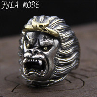 Support Drop Ship Great Animal Gorilla Ring 100% S925 Sterling Silver Jewelry Punk Ape Man Shape Ring 30.50MM 26.20G PBG059