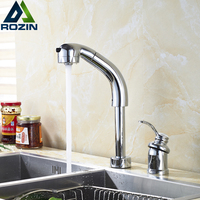 Modern Dual Hole Deck Mounted Bathroom Kitchen Faucet Height Adjustable Kitchen Mixer Taps Pull Out Dual