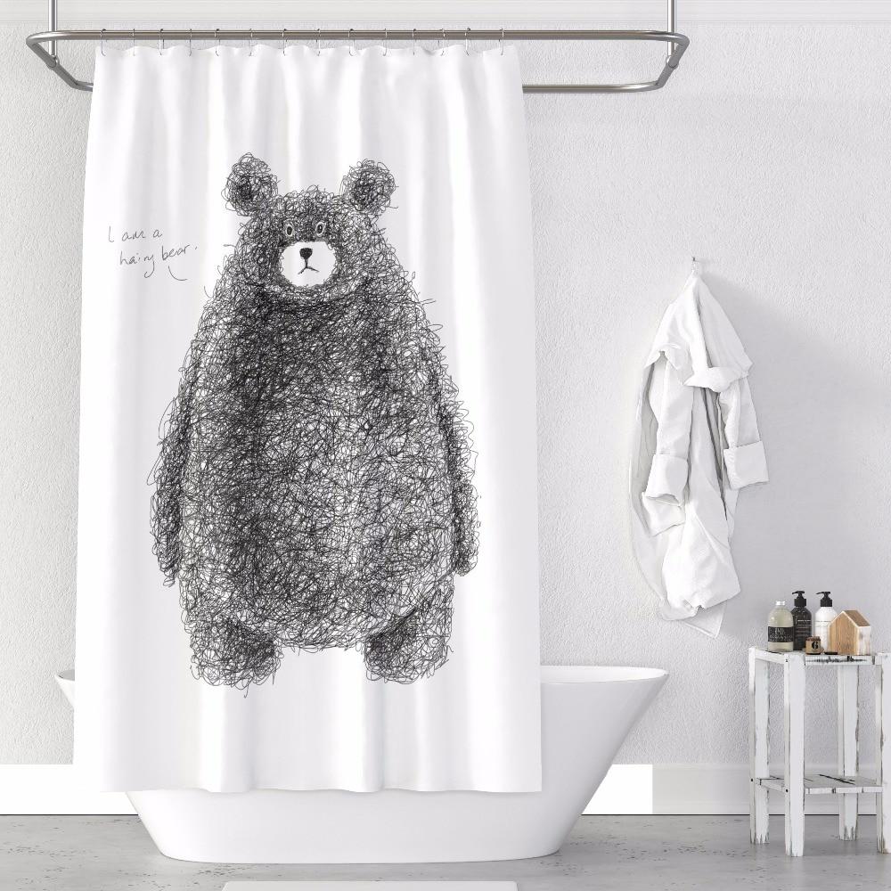 Rideau de douche sur mesure salle de bain rideau cloison + crochets 1.2/1.5/1.8/2x1.8 m 1.5x2 m 1.8x2 m 2x2 m 2.4x2 m ours blanc ins