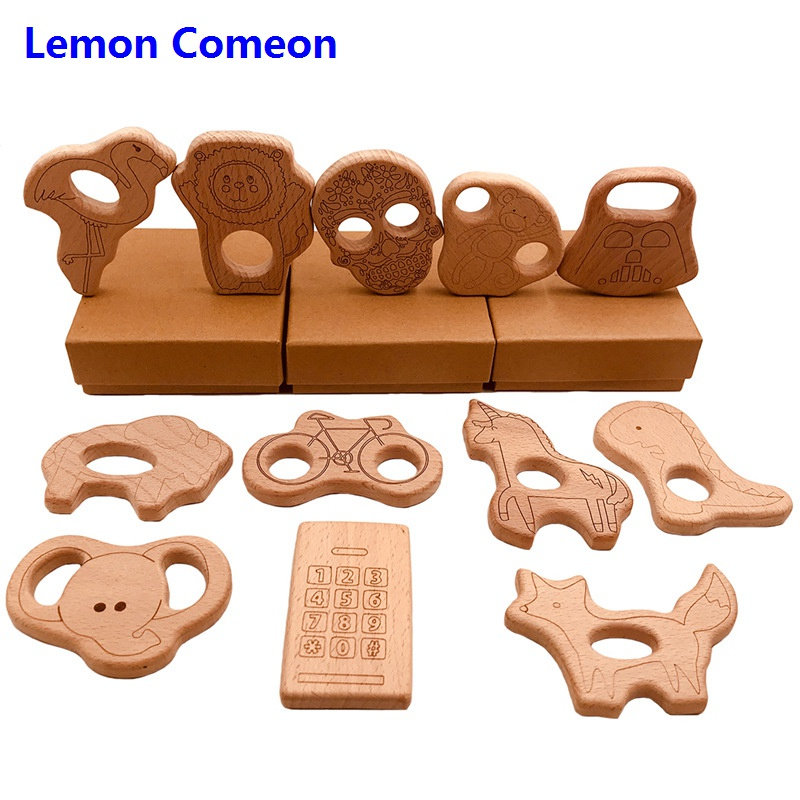 5Pc Baby Teether Beech Wooden Teething Skull Toy Animals Accessories Kid Necklace Pendant Nursing Holder