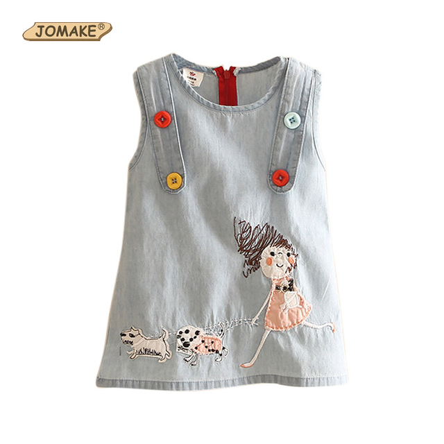 18fb4d81c6f59 Cartoon Embroidery Denim Girls Dress Summer Style Cute Baby Girl Jean  Sleeveless Dresses Casual Kids Clothes Children s Clothing