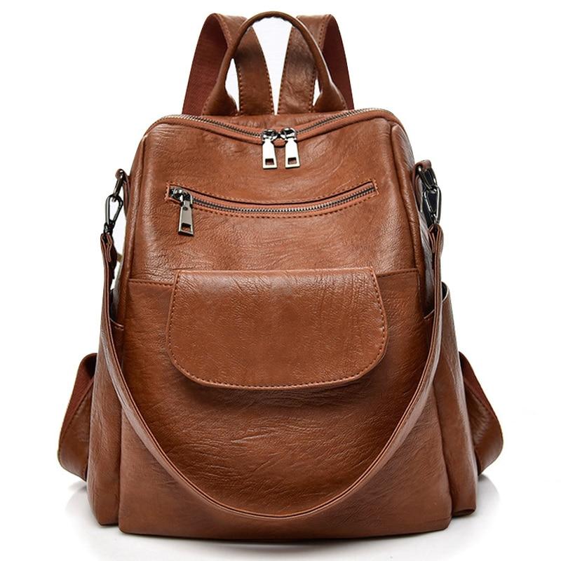 PU Washed Leather Female Designer Backpack Women Shoulder Bag Waterproof Bookbag Travel Rucksack Purse