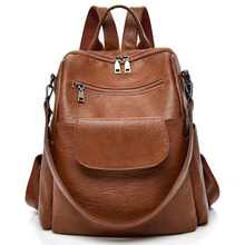 2019 New Fashion PU Washed Leather Backpack Female Designer Backpack Women Shoulder Bag Waterproof Bookbag Travel Rucksack Purse