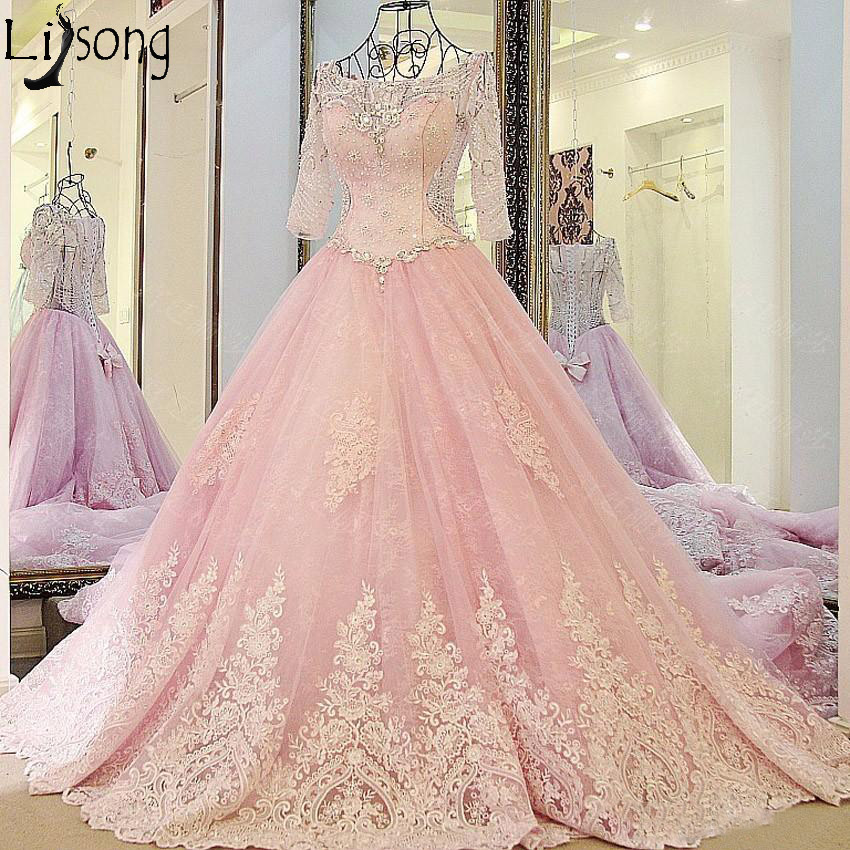 Luxury Blush Pink   Prom     Dresses   Long Train Half Sleeve Lace Appliques Crystals Glam Engagement   Dress   Formal Bride Evening   Dress