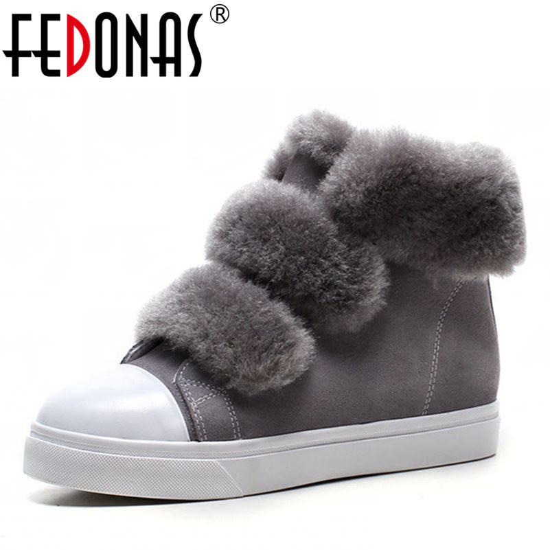 FEDONAS Fashion Women Cow Suede Genuine Leather Warm Wool+Plush Snow Boots Winter Shoes Woman Heels Ankle Boots Casual Shoes yin qi shi man winter outdoor shoes hiking camping trip high top hiking boots cow leather durable female plush warm outdoor boot