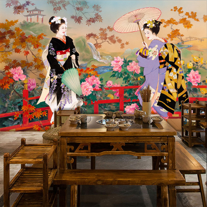 New China Girl Wallpaper Tuya Art Wall Mural Japanese Style Beautiful Girl Picture