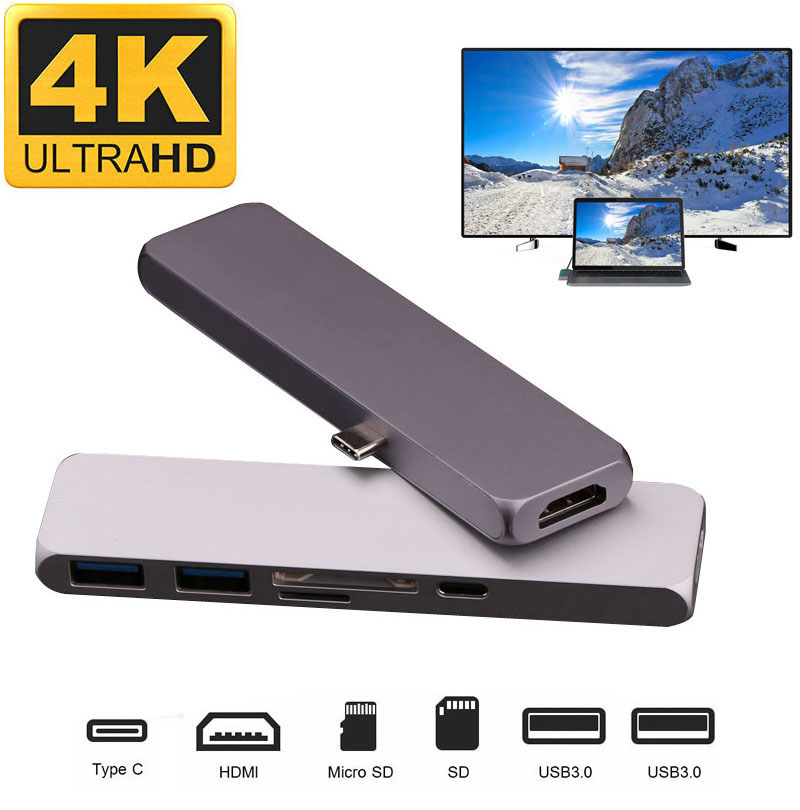 Aluminum 4K HDMI HUB Type C Hub USB 3.0 Splitter Video Adapter TF SD Card Reader for imac for Macbook pro 2015 2016 2017 ssk scrm 060 multi in one usb 2 0 card reader for sd ms micro sd tf white
