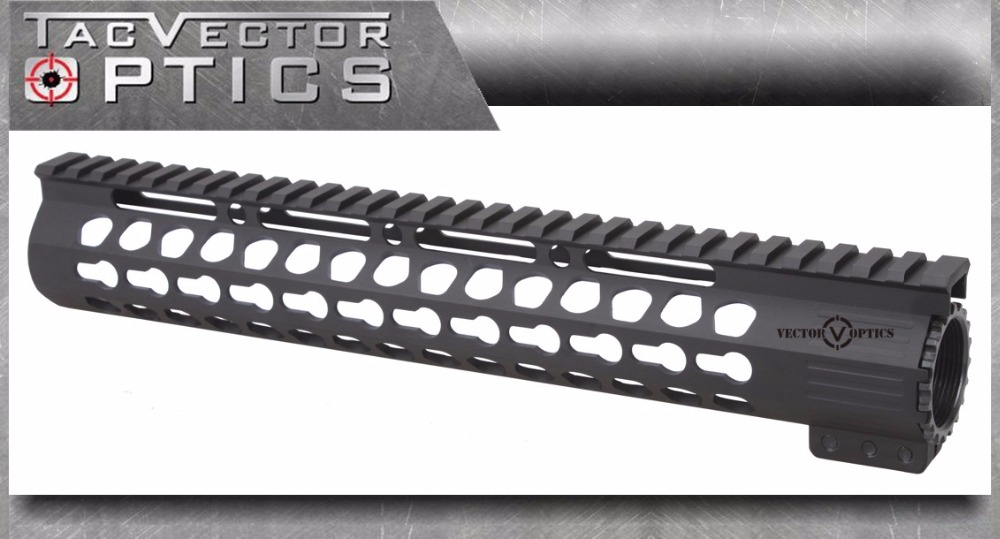 AR15 M4 M16 Tactical Slim KeyMod 12 inch Free Float Handguard Picatinny Rail Mount Bracket with Steel Barrel Nut fit AR-15 .223